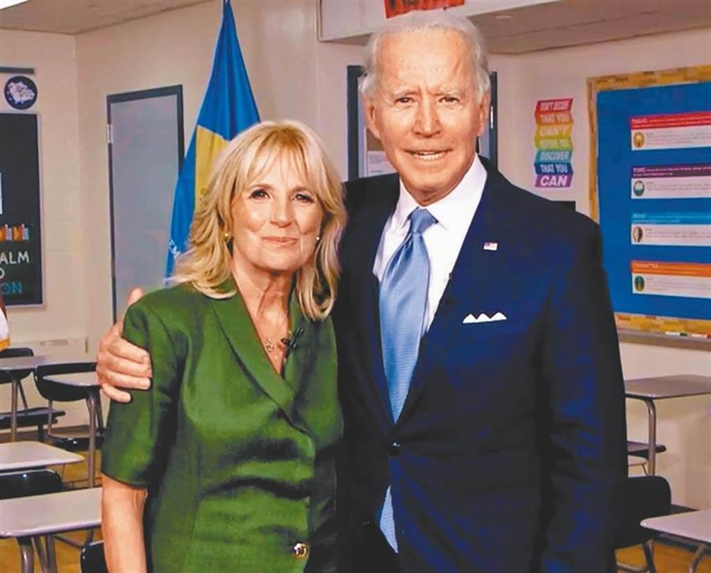 民主黨籍美國總統候選人拜登與妻子。(資料照/TPG、達志影像)