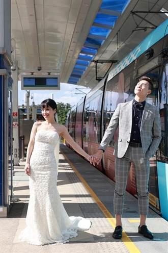 幸福婚禮風 淡海輕軌全新彩繪列車上路