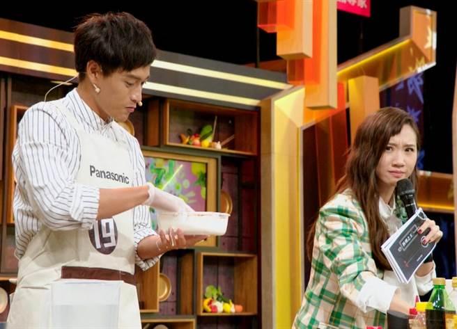 高顏值組中的演員于秉鑫大撩主持人Lulu。(量子娛樂製作提供)