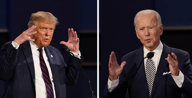 美國總統川普(左)與民主黨候選人拜登。(美聯社)