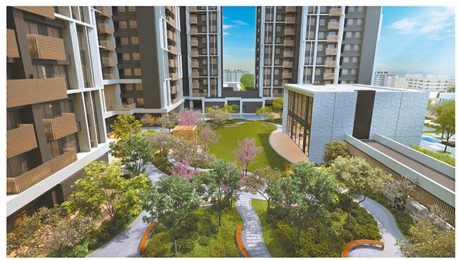 遠雄北府苑大方留設800坪私家中庭花園。