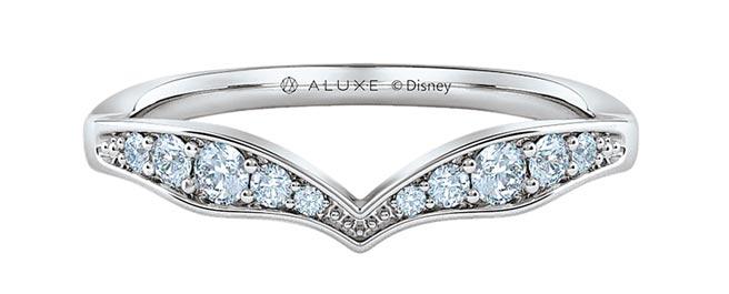 ALUXE小美人魚Sparkling Happiness公主系列婚戒,18K金約2萬8400元,鉑金約3萬8000元,鑽石另計。(ALUXE提供)