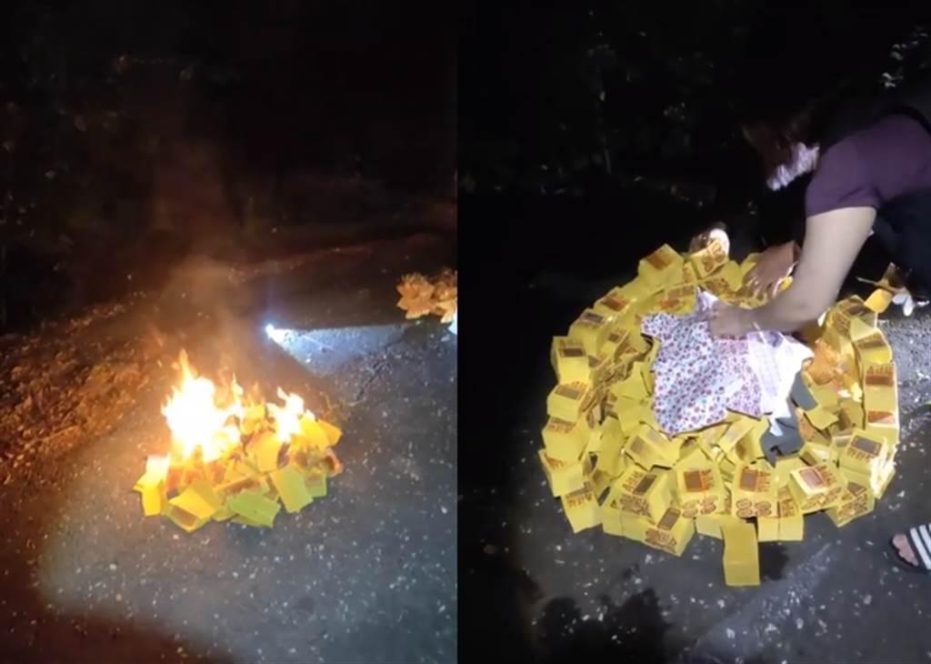網紅「水伯大管家」10月30日深夜在臉書開直播,替遇害的馬籍女大生燒金紙、衣物祈福。(臉書《水伯大管家》/蘇育宣翻攝)