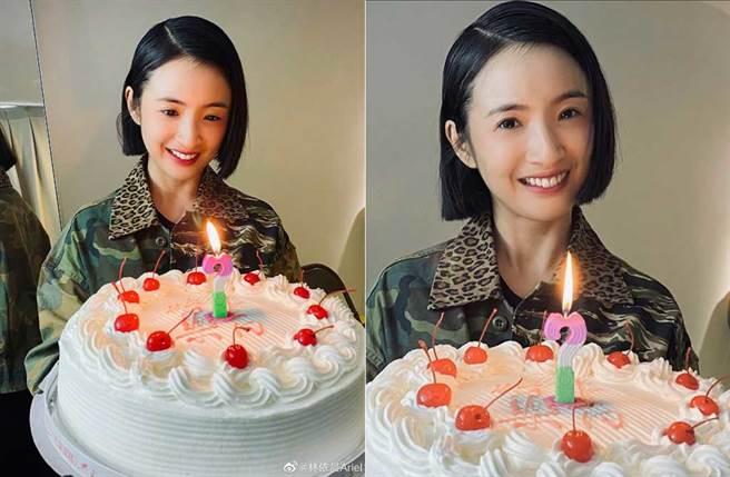 林依晨曬生日照,被酸民嫌蛋糕老派,她高EQ完美回應。(取材自林依晨微博、IG)