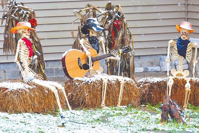美國賓州金斯頓鎮一處為迎接萬聖節而裝點的草坪,3具骷髏擺設在一場風暴過後被白雪覆蓋。(美聯社)