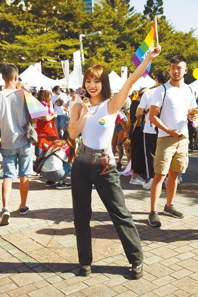 陳芳語昨上街頭力挺同志。(華風數位提供)