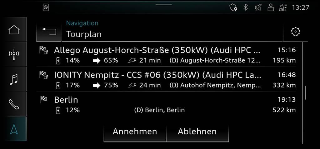 藉由新年式MIB 3的搭載 Audi e-tron路線規劃功能再獲升級