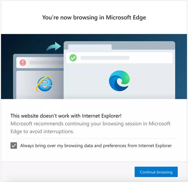 部分知名網站將在Edge 87版之後,無法使用IE啟用,會跳轉到Edge來開啟,等於是微軟強迫IE退休的強硬作法。(摘自The Verge)