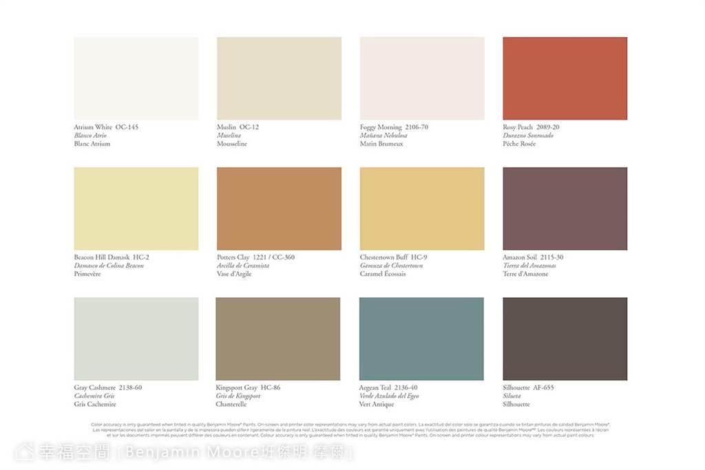 2021年度趨勢色彩調色板,由日常汲取靈感,注入空間演繹出純淨的生活感。(圖片提供/Benjamin Moore班傑明‧摩爾塗料)