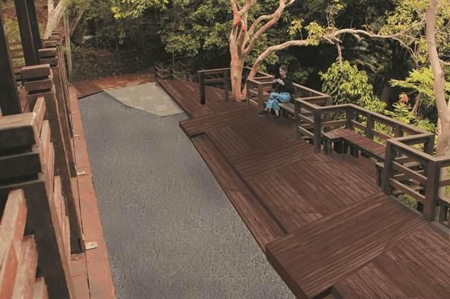 大坑風動石公園既有平台區改善示意圖。(台中市觀旅局提供/王文吉台中傳真)