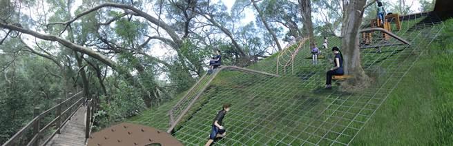 大坑風動石公園將新建爬網,提供豐富的趣味遊憩設施。(台中市觀旅局提供/王文吉台中傳真)