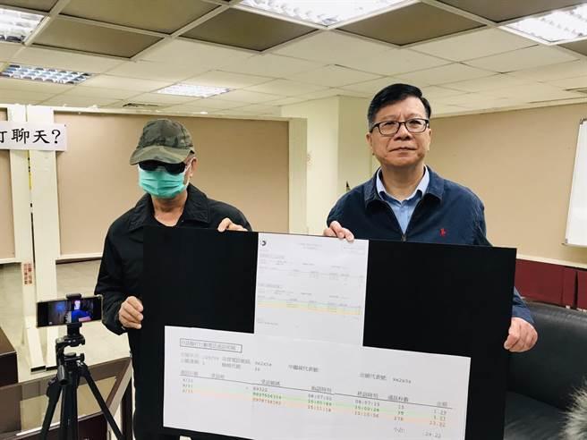北市議員潘懷宗(右)3日偕陳先生(左)在議會舉行記者會,揭發中華電信維修員私闖入民宅打電話,電話費還算在客戶頭上。(張穎齊攝)