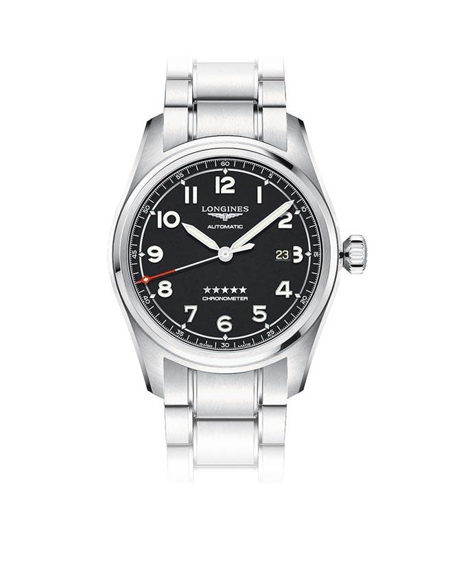 浪琴表Spirit先行者系列黑色面盤大三針日期顯示腕表,7萬2600元。(浪琴表提供)