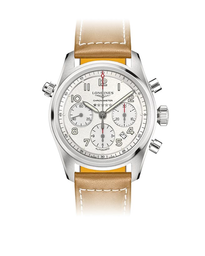 浪琴表Spirit先行者系列銀面盤計時碼表,10萬300元。(浪琴表提供)