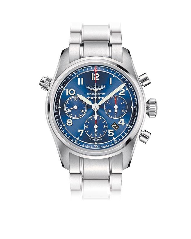 浪琴表Spirit先行者系列藍色面盤計時碼表,10萬300元。(浪琴表提供)