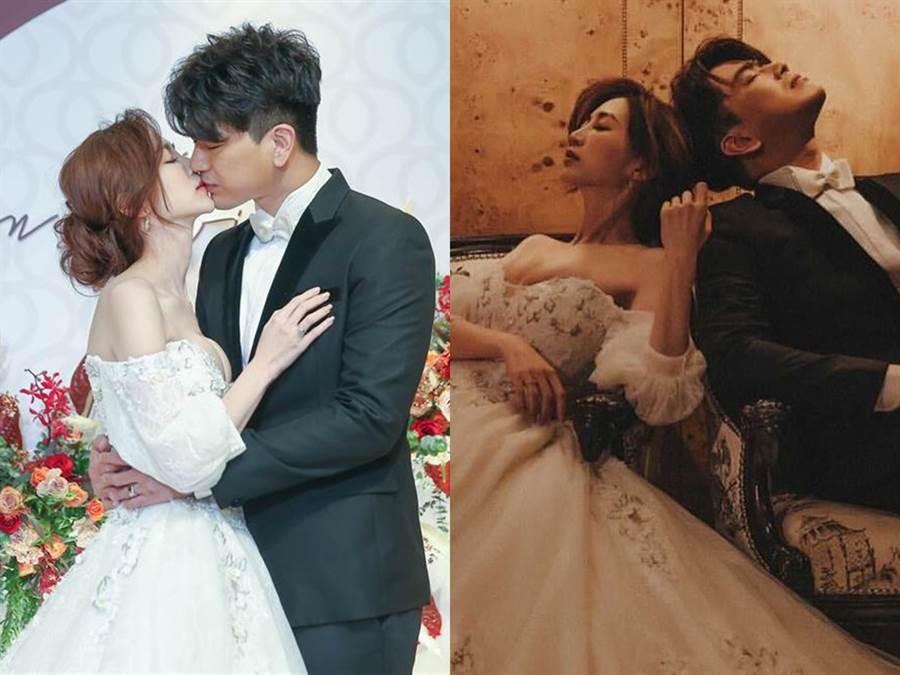 潘逸安老婆的爆乳婚纱惹争议。(粘耿豪摄;FB@潘逸安)