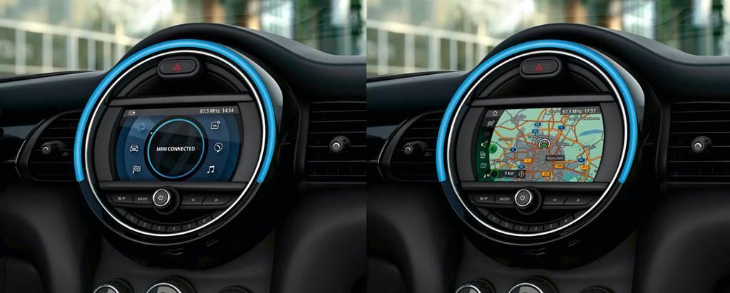 6.5吋觸控螢幕結合原廠中文導航系統與無線Apple CarPlay整合系統以及MINI Connected智慧互聯駕駛系統。