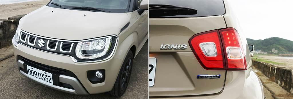 新水箱罩/保桿/下氣壩為SUZUKI IGNIS Hybrid形塑一張嶄新前臉;車尾的Hybrid銘牌表明了油電車身份。