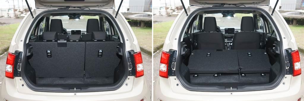 後行李廂標準形況下有267L(左),後座椅背傾倒下可達501L(右)。