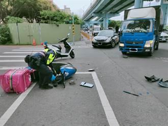 貨車大玩螃蟹走戲碼橫切3車道 外送員慘遭擊落