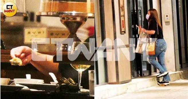 結束記者會工作後,梁靜茹趕到餐廳與林達光約會,席間她還主動餵食對方。(圖/本刊攝影組)