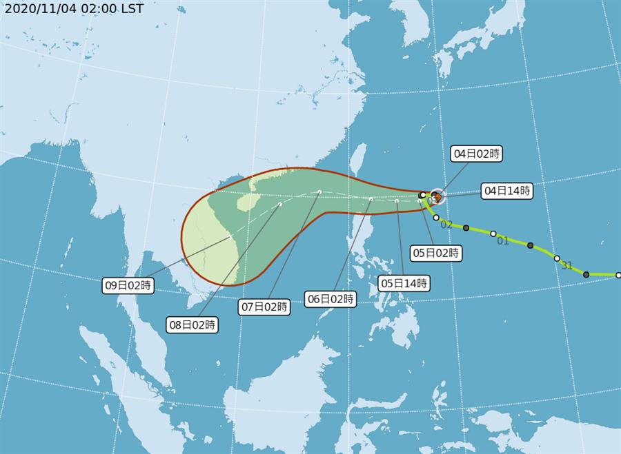 圖為閃電颱風路徑,預測周五(6日)最接近台灣氣象局不排除有發海陸警的機會,只是陸警機率較低。(氣象局)