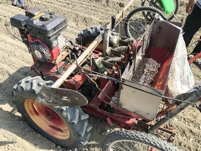 晟豐農機公司與蒜農合作研發種蒜機,可減少農村人口老化、不足的問題,種蒜機一台要價40萬,預計明年上市。(周書聖攝)