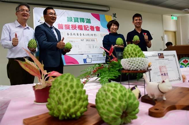 台東農改場歷時10年選育的新品種「綠寶釋迦」,5日技轉授權予台東縣農產公司。(莊哲權攝)