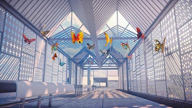 安坑輕軌公共藝術將以火金姑為發想主軸,其中蝴蝶裝置呼應新店和美山蝴蝶廊道生態。圖為模擬圖。(新北市捷運局提供/葉德正新北傳真)