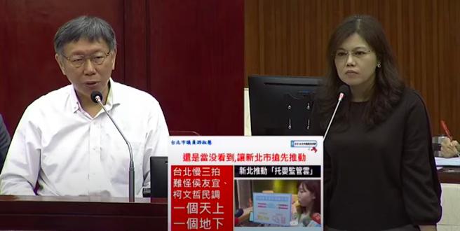 台北市長柯文哲(左)6日接受市政總質詢。(摘自柯P直播)