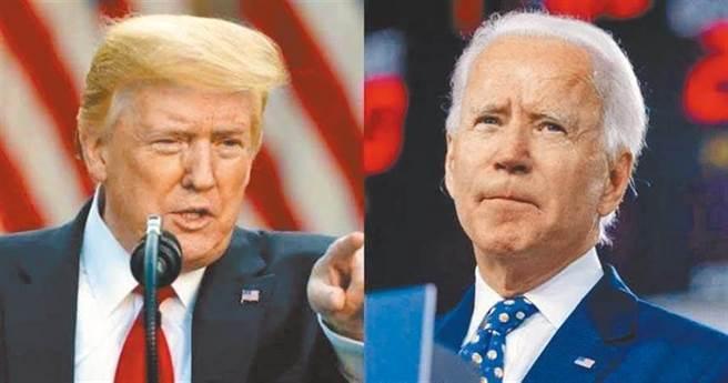 美國總統川普(圖左)、民主黨候選人拜登(圖右)。(圖/中新社)