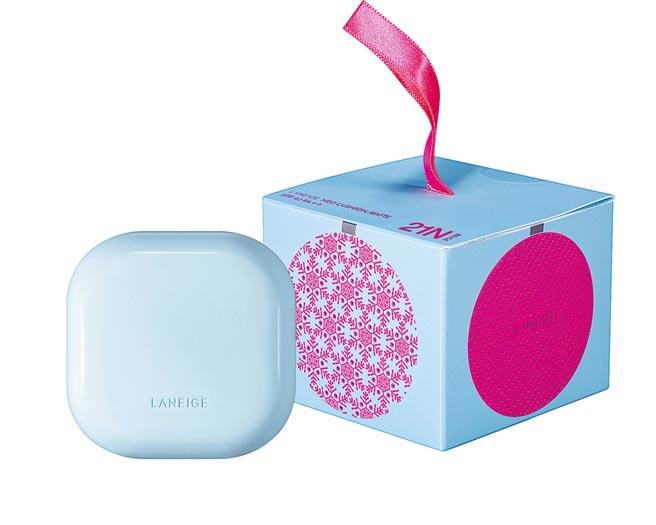 蘭芝NEO型塑霧感氣墊耶誕冰藍版,1400元。(蘭芝提供)