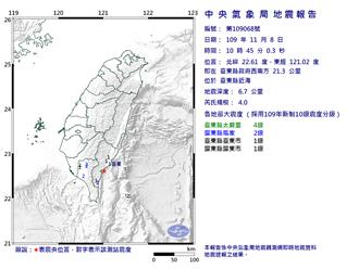 10:45台東規模4地震 台東縣最大震度4級