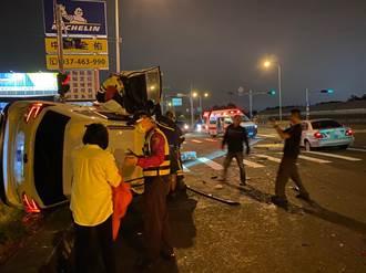 西濱休旅車違規左轉 與對向直行轎車擦撞3人傷