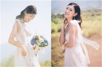 27歲氣質女星爆帶球嫁 唯美婚紗照曝光 傲人事業線快彈出深V白紗