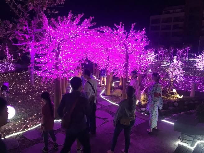 眾所期待的四重溪溫泉季7日晚間正式登場,並由屏東縣長潘孟安親自點亮「浪漫桃花」燈海,遊客在點燈瞬間驚豔連連。(謝佳潾攝)