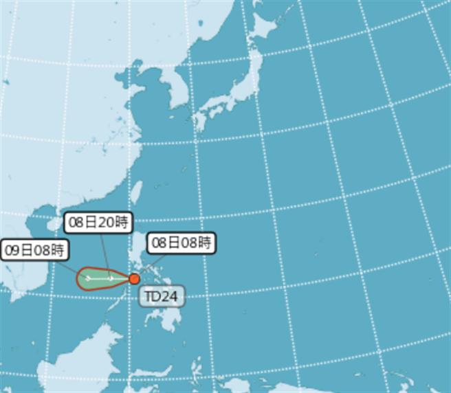 熱帶性低氣最快明天增強為21號颱風艾陶。(氣象局)