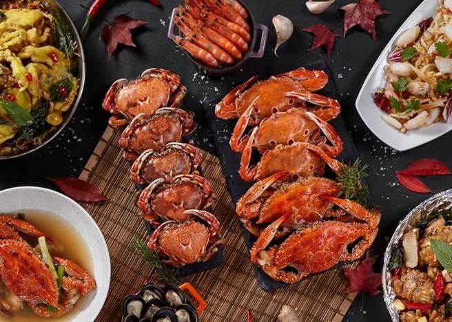 GUSTOSO餐廳推「好秋,嗑蟹季」,秋蟹、牛排」飲料Buffet無限量供應,每位1199元起。(慕軒飯店提供)