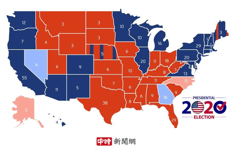 美總統大選各州開票進度。(製圖:陳友齡)