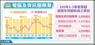 疫情帶動宅經濟 電腦及資訊服務業營業額Q3年增逾5%