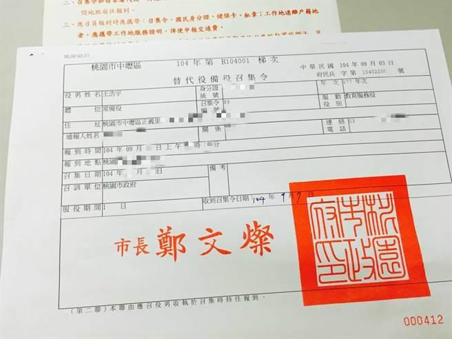 王浩宇幾年前曾收到教召令。(圖/摘自王浩宇臉書)