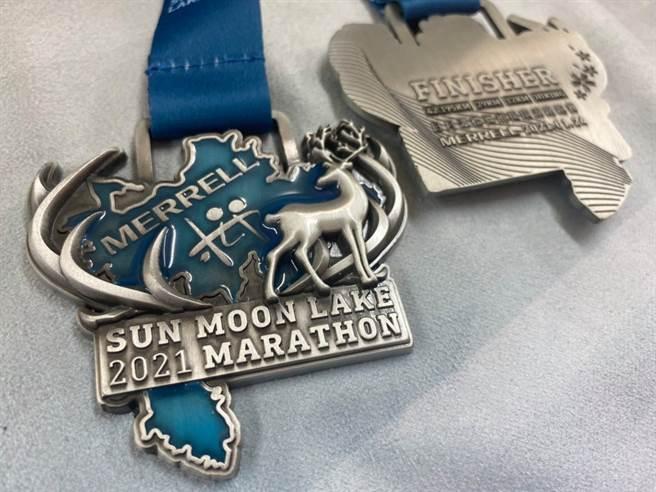 MERRELL 2021日月潭櫻舞飛揚環湖路跑賽完賽獎牌。(大會提供)