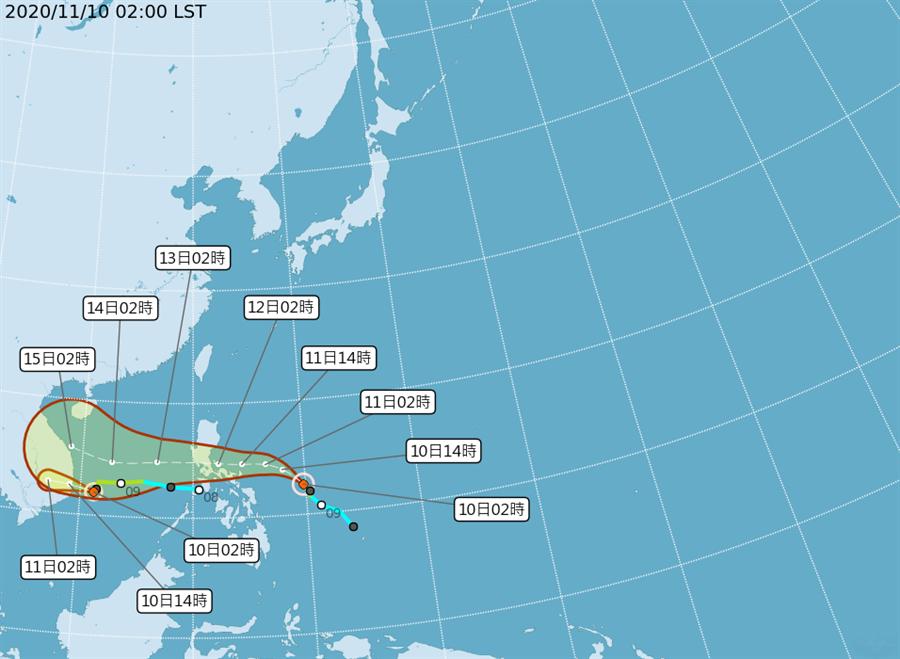 艾陶颱風在越南東方近海,今天中午將登陸越南中部「梵高」未來經菲律賓中部、向西進入南海,將增強為中度颱風。(氣象局)