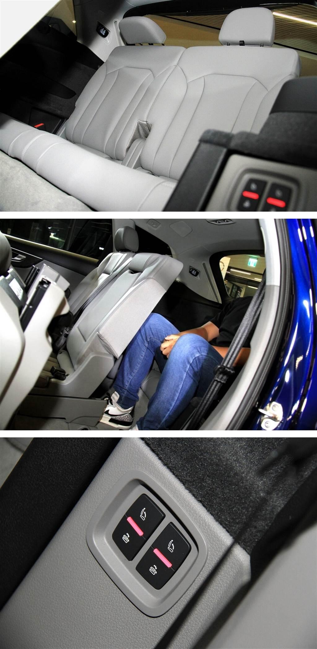 第三排椅背傾倒與立起均為電動控制,並且後車門邊與行李箱邊都有按鍵。