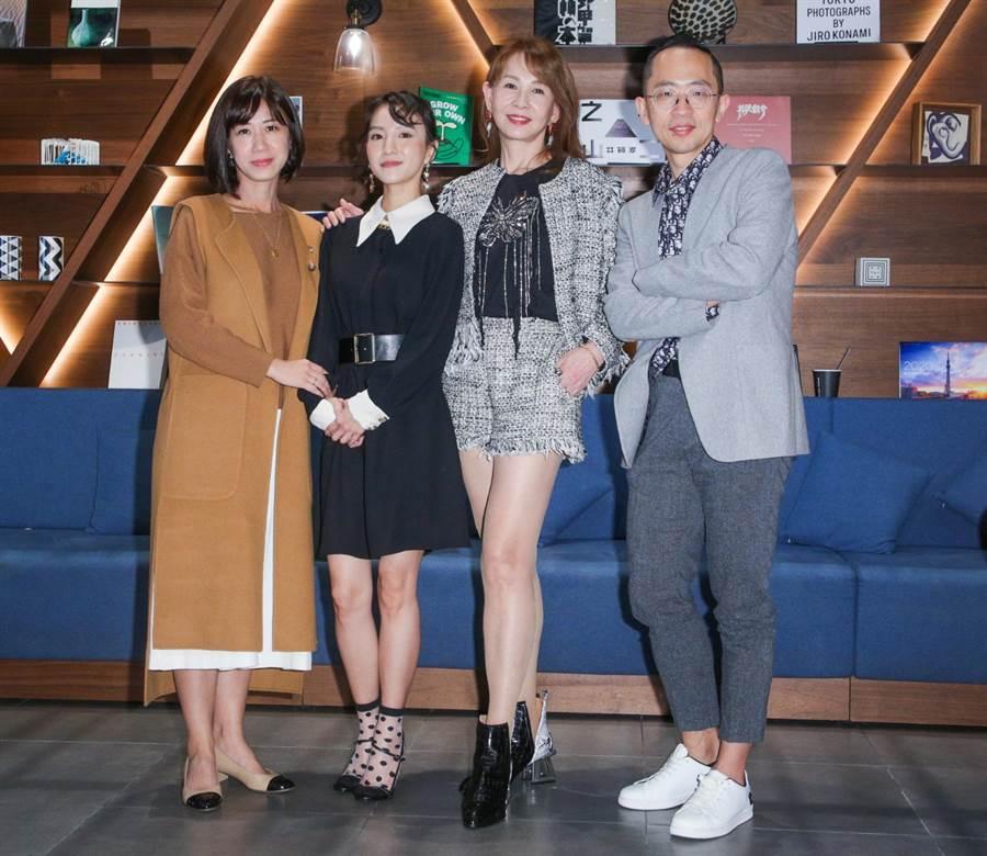 《未来妈妈》编剧刘中薇(左起)、张寗、周丹薇、医疗顾问李俊逸11日出席座谈会。(吴松翰摄)