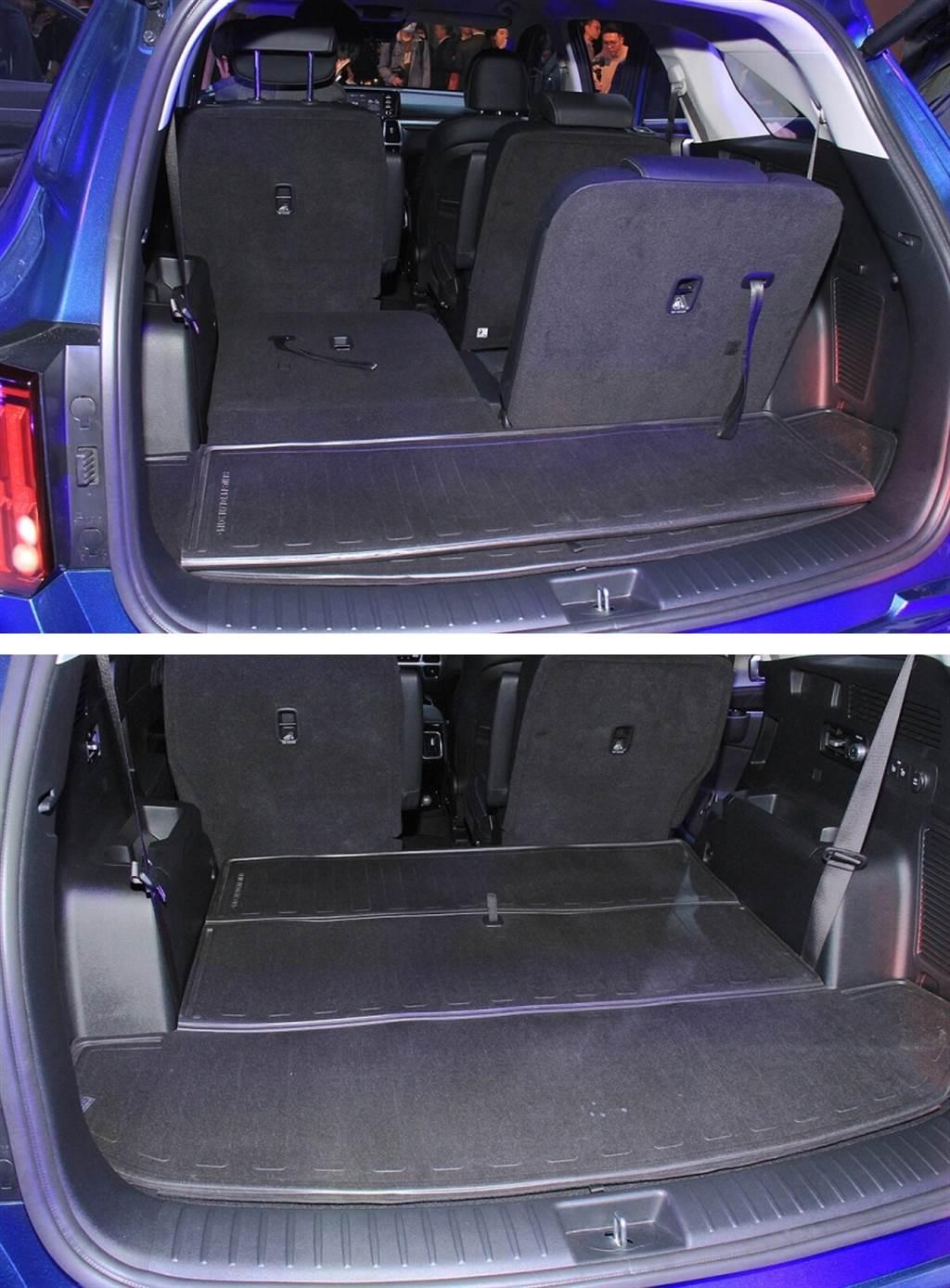 在空間的運用上,新Sorento第三排座椅後方擁有達187公升的置物空間(圖中摺疊防水墊為另購配件),若將第二/三排座椅全數傾倒收納,行李廂空間最大更可擴充至2,056公升,彈性的配置讓車主可輕鬆應付多元的空間需求。