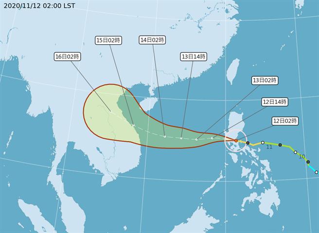 中颱梵高今天凌晨登陸菲律賓中部,中午進入南海,朝越南去。(氣象局 颱風路徑圖)
