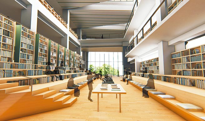 占地1萬800多平方公尺的台東縣新總圖書館,已完成設計,圖為新總圖大閱覽室。(台東縣政府提供/莊哲權台東傳真)
