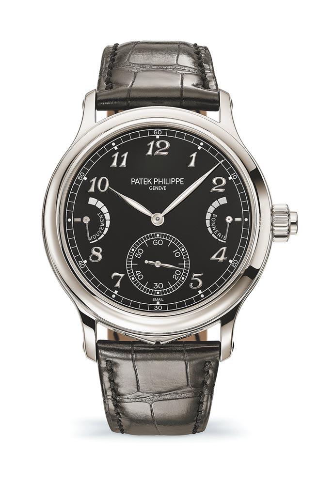 百达翡丽在网路发表6301P-001腕表,是首只以大自鸣功能为主的腕表,打簧声音更美、动力更持久。(Patek Philippe提供)