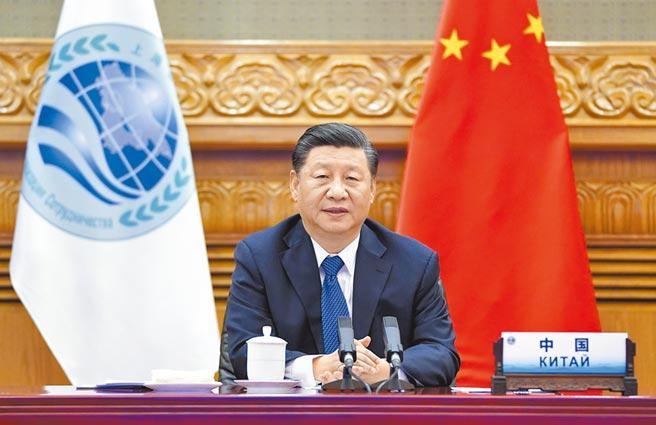 11月10日,大陸國家主席習近平在北京以視訊方式,出席上海合作組織成員國元首理事會第20次會議,並發表講話。(新華社)